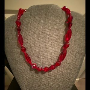 Red red ruby Czech glass bead necklace